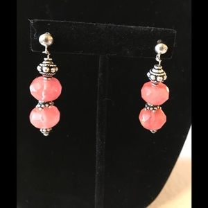 Jewelry - Coral and Bali Bead earrings
